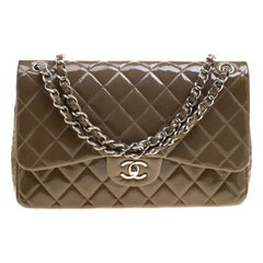 Chanel Khaki Quilted Patent Leather Jumbo Classic Double Flap Bag