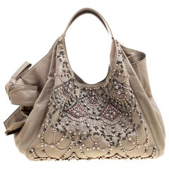 Valentino Beige Leather Pearl Embellished Hobo