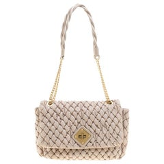 Moschino Beige Quilted Nylon Flap Shoulder Bag