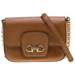 Salvatore Ferragamo Tan Saffiano Leather Paris Crossbody Bag