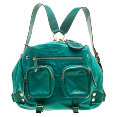 Gucci Green Leather Medium Darwin Convertible Backpack Bag