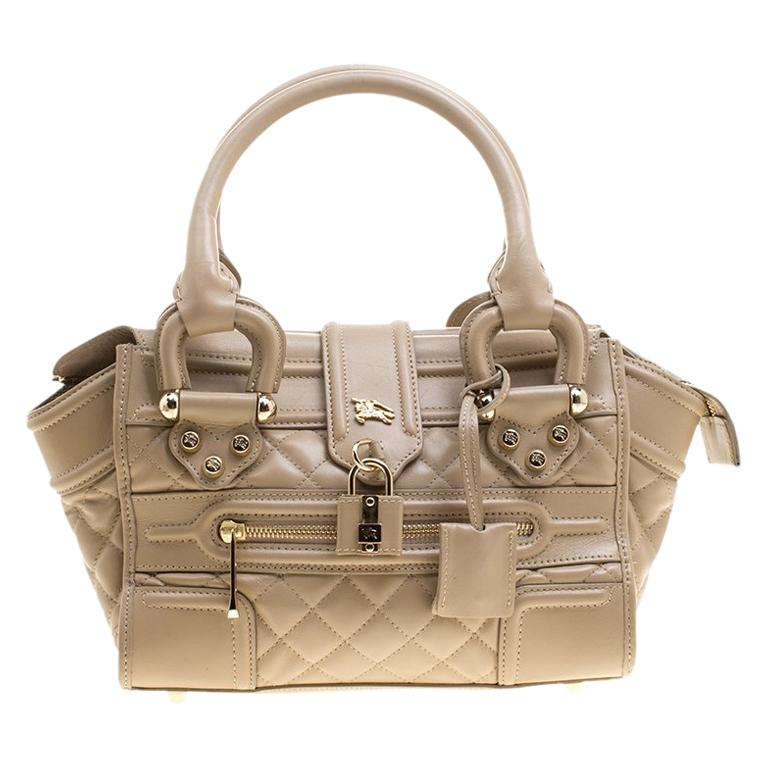 a66b0cb5e01f Burberry Beige Quilted Leather Mini Manor Satchel For Sale at 1stdibs