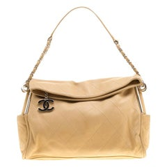 Chanel Beige Leather CC Pocket Tote