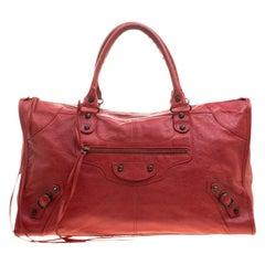 Balenciaga Coquelicot Leather RH Work Tote