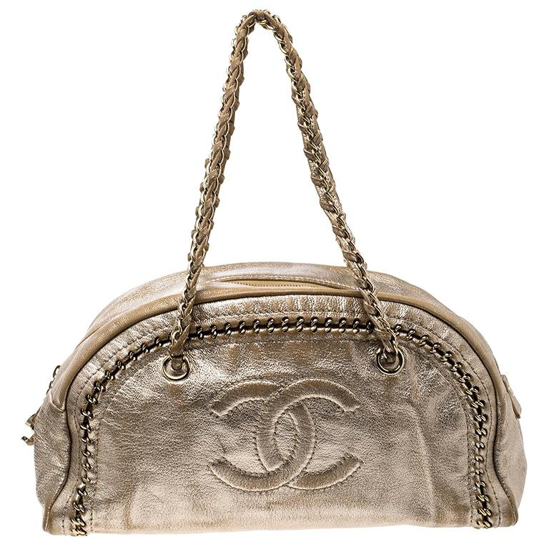 1990a78bbaa3 Chanel Metallic Gold Leather Medium Chain Trim Luxe Ligne Bowler Boston Bag  For Sale at 1stdibs