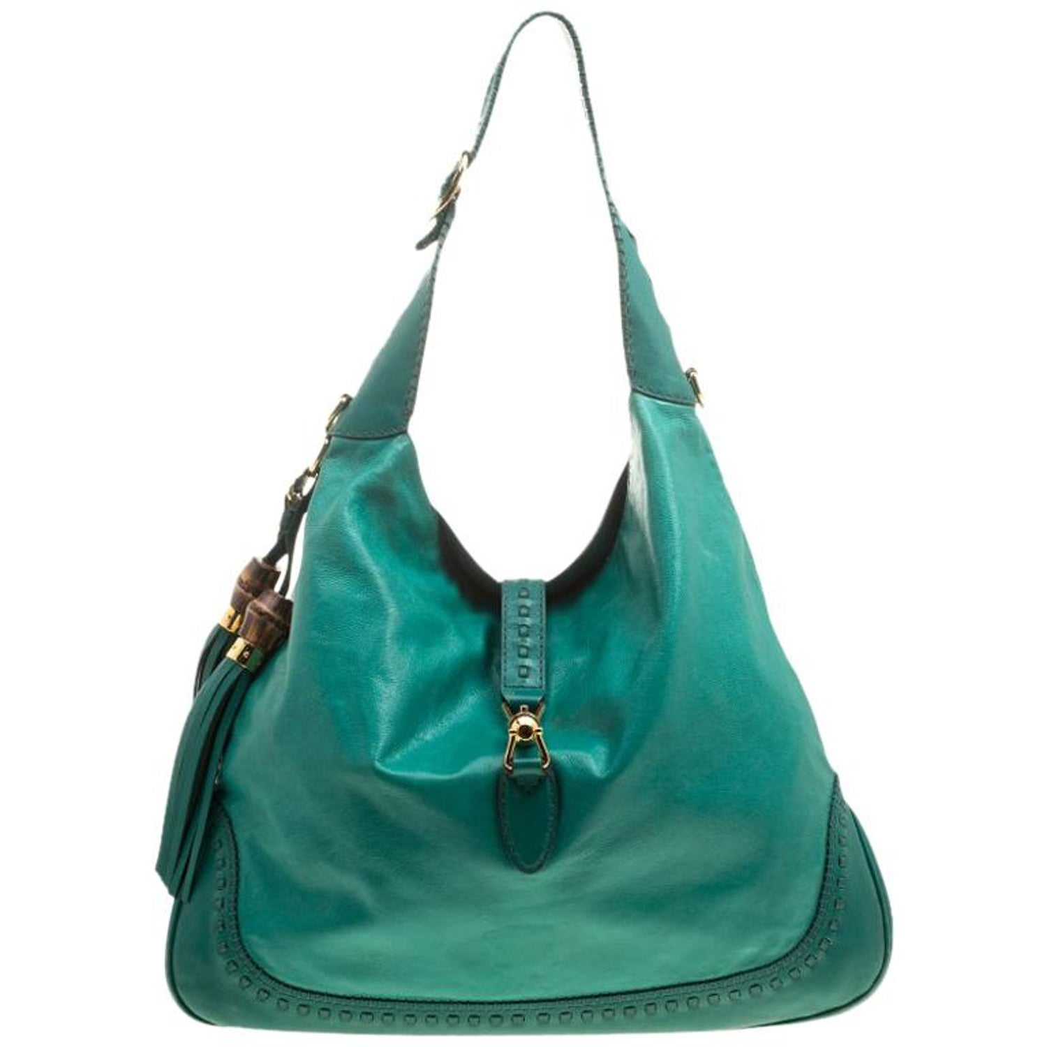 7cc8a1d42 Gucci Green Leather Large New Jackie Shoulder Bag For Sale at 1stdibs