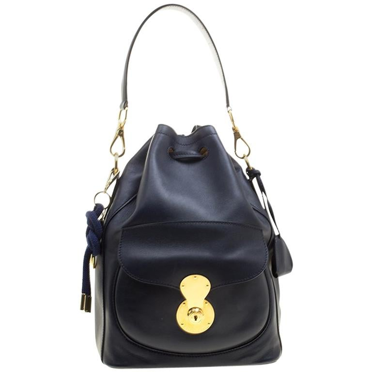 aefa8087f936 Ralph Lauren Navy Blue Leather Ricky Drawstring Bucket Bag For Sale at  1stdibs