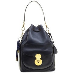 Ralph Lauren Navy Blue Leather Ricky Drawstring Bucket Bag