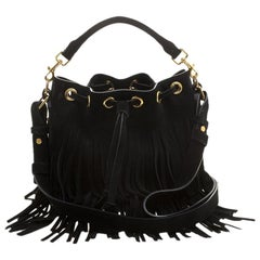 Saint Laurent Paris Black Suede Small Emmanuelle Fringed Bucket Bag