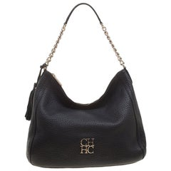 Carolina Herrera Black Pebbled Leather Hobo