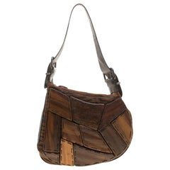 Fendi Brown Tiger Print Velvet and Leather Wood Embellished Oyster Hobo
