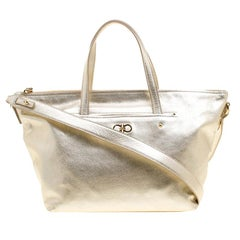 Salvatore Ferragamo Metallic Gold Leather Small Mika Tote
