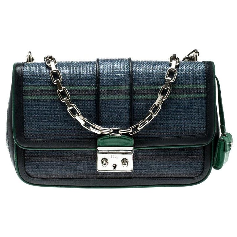 d0eef9f2c9c8e9 Dior Blue/Green Raffia and Leather Miss Dior Medium Flap Bag For Sale