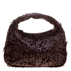 Bottega Veneta Burgundy Leather Intrecciato Velvet Speckled Hobo