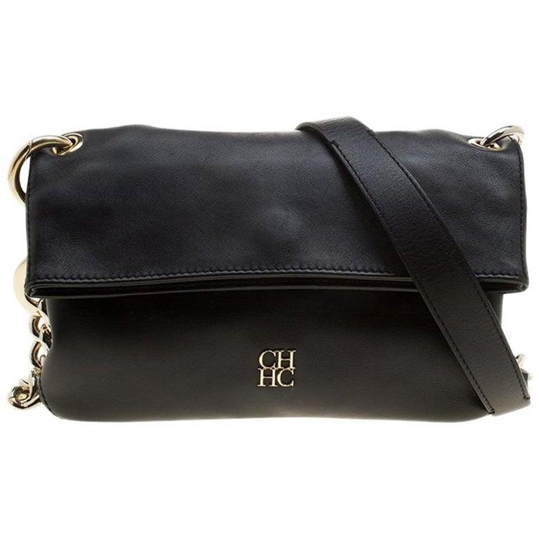 3b8ffe93dc5d Carolina Herrera Black Leather Chain Shoulder Bag For Sale at 1stdibs