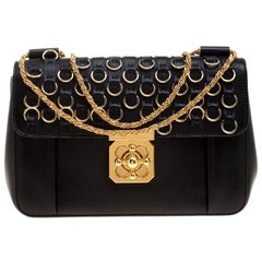 Chloe Black Leather Medium Elsie Ring Embellished Shoulder Bag