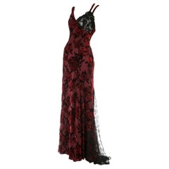 Christian Lacroix red and black silk and lace evening dress, c. 1990s