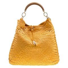 Salvatore Ferragamo Mustard Leather Ceyla Braided Top Handle Bag