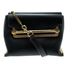 Chloe Black/Beige Leather Small Clare Shoulder Bag