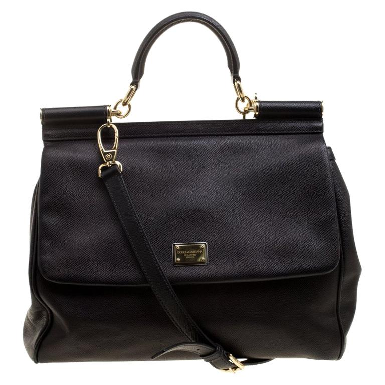 64b17a31f833 Dolce and Gabbana Black Leather Large Miss Sicily Tote For Sale at ...