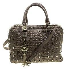 Versace Dark Beige Leather Vanitas Demetra Satchel