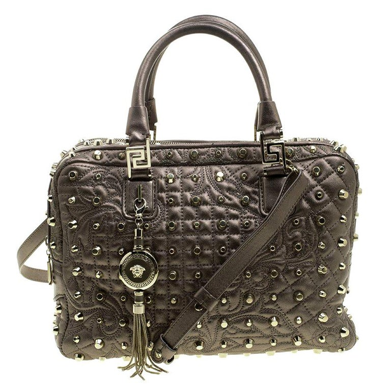 79ee97a586 Versace Dark Beige Leather Vanitas Demetra Satchel For Sale at 1stdibs