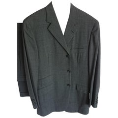 "HERMES ""New"" Wool Dark Gray Men's Two Piece Suit - Unworn"