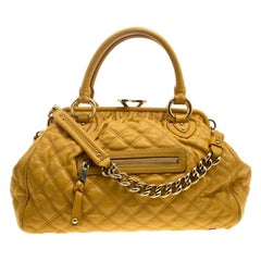 Marc Jacobs Mustard Quilted Leather Stam Satchel