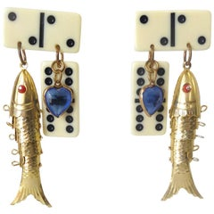 1980s Eclectic Domino Charm Statement Earrings