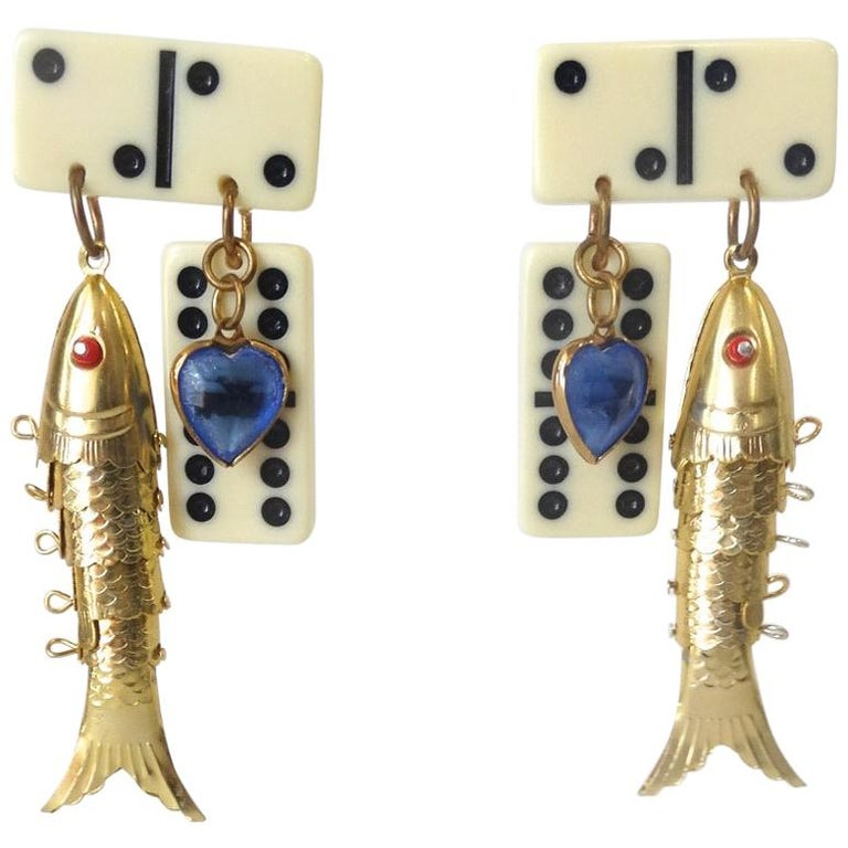 1980s Eclectic Domino Charm Statement Earrings  For Sale