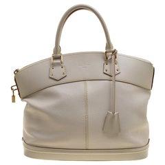 Louis Vuitton Ivory Suhali Leather Lockit MM Bag