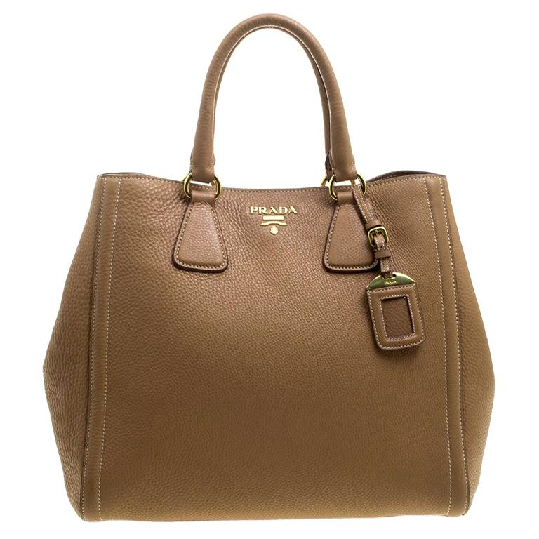 c7a9123e4b4a Prada Brown Vitello Daino Leather Shopper Tote For Sale at 1stdibs