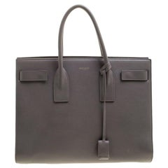Saint Laurent Paris Grey Leather Large Sac De Jour Tote