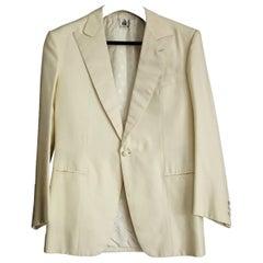 "LANVIN ""New"" Couture Silk Men's Cream Jacket, Black Trousers Suit - Unworn"