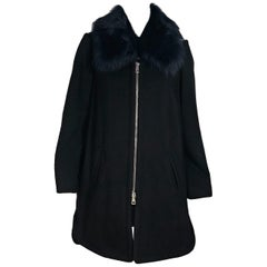 Black & Navy Blue Chloe Shearling-Trimmed Wool Coat