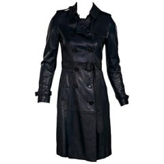 Navy Blue Burberry Prorsum Leather Trench Coat