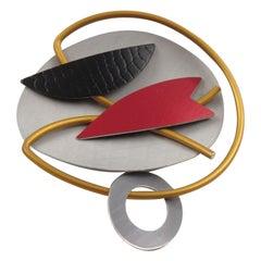 Hou Studios Modernist Machine Age Futurist Aluminum Pin Brooch