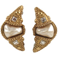 Alexis Lahellec Paris Clip-on Earrings Gilt Resin Crescent with Pearl