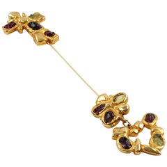 Christian Lacroix Paris Signed Oversized Long Pin Brooch Gilt Metal and Cabochon