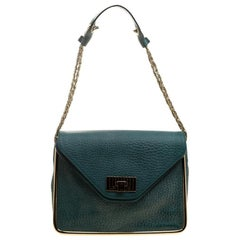 Chloe Green Leather Medium Sally Flap Shoulder Bag