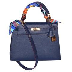 Hermes Blue Indigo Epsom Leather Rose Gold Hardware Limited Edition Kelly