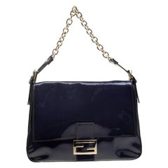Fendi Navy Blue Patent Leather Mama Forever Shoulder Bag