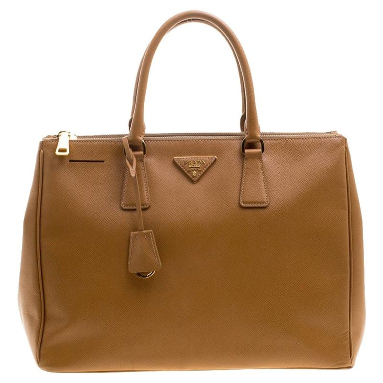 515789be470163 Prada Caramel Saffiano Lux Leather Large Double Zip Tote For Sale at ...