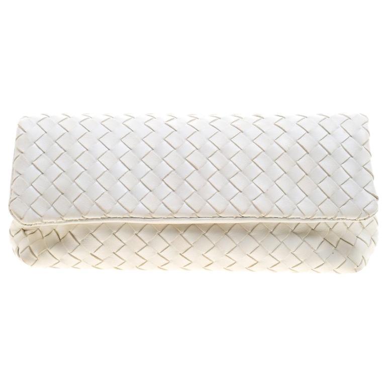 af529a46dfdd Bottega Veneta White Intrecciato Leather Clutch For Sale at 1stdibs
