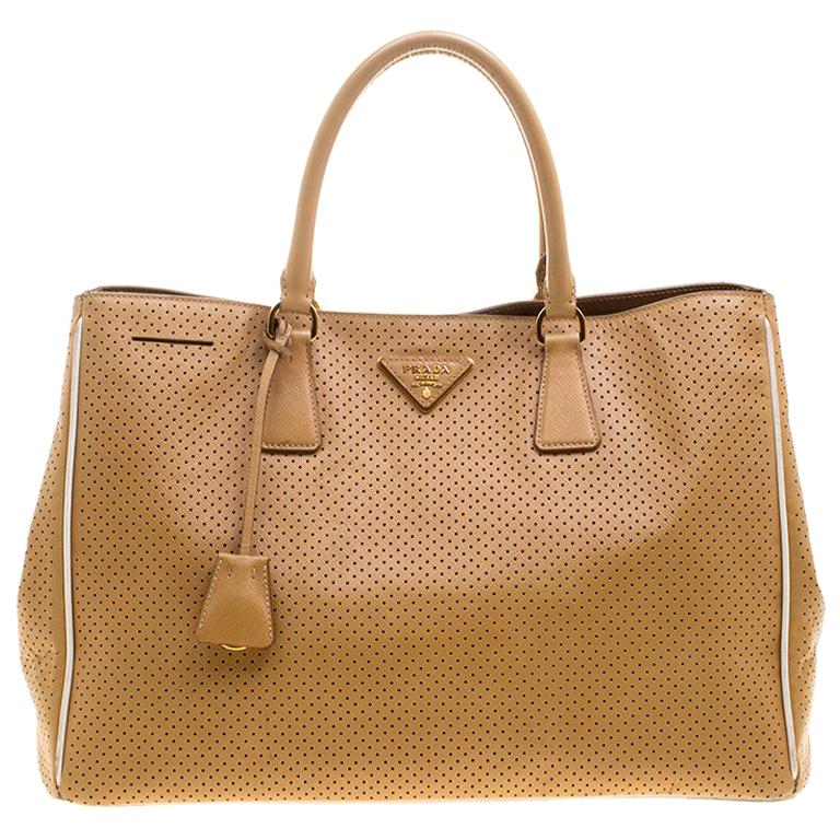 f36bb3c6f82e Prada Caramel Perforated Saffiano Lux Leather Large Gardener's Tote For Sale  at 1stdibs