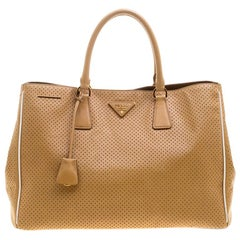 Prada Caramel Perforated Saffiano Lux Leather Large Gardener's Tote