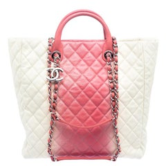 Chanel Cream/Rose Ombre Quilted Caviar Leather Shopping Tote
