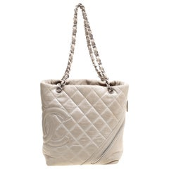 Chanel Grey Quilted Leather CC Bucket Bag