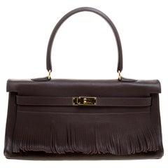 Hermes Cacao Clemence Leather Gold Hardware Shoulder Kelly 40 Bag