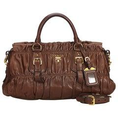 Prada Brown Gathered Leather Satchel